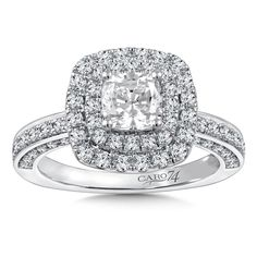 Diamond double halo engagement ring mounting with side stones set in white gold. Mounting to fit 1 ct. - Diamond Halo Engagement Ring Mounting in White Gold with Platinum Head ct. Double Halo Engagement Ring, Classic Engagement Rings, Engagement Ring Styles, Diamond Engagement Rings, Engagement Ring Jewelers, Cushion Ring, Diamond Rings, Fine Jewelry, White Gold
