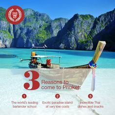 Phuket is a tropical paradise, a traveller's dream, filled with hidden beaches, coves and other secrets that you have to discover for yourself! During the day, fall asleep under a palm tree, take a paddle in the warm turquoise water or have a cocktail on your sun bed. By night, eat the delicious local food and experience nightlife like no other! #bartending #EBSPhuket #EuropeanBartenderSchool