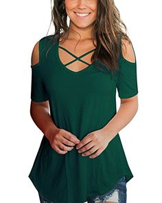 Aolakeke Cold Shoulder Short/Long Sleeve T Shirts V Neck Tops Casual Criss Cross Tunic Blouse *** Learn more by visiting the image link. (This is an affiliate link) Chic Outfits, Fashion Outfits, Womens Fashion, Trendy Fashion, Blouses For Women, T Shirts For Women, Tunic Tops, Tunic Blouse, Short Tops