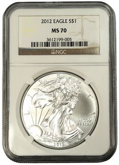 Each of these 2012 Silver Eagles has been certified and encapsulated as by the Numismatic Guarantee Corporation - one of the premier grading services. Silver Eagle Coins, Silver Eagles, Bullion Coins, Silver Bullion, Eagle Design, American Coins, Coin Values, Coin Grading, Coins For Sale