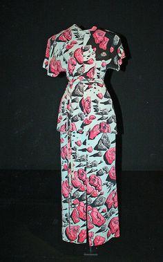 Elsa Schiaparelli ; Dress 1939 vintage fashion style designer couture novelty print day dress floral white pink black outfit suit shirt skirt pants
