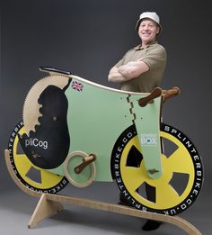 Michael Thompson with Splinter Bike all-wooden bike !  This is out of the Box Thinking.