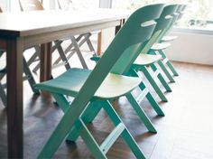 Novae Folding Chair - Green  These are great chairs. Very playful yet inexpensive and easy to clean. Chairs will work in breakfast nook, playroom or home office.