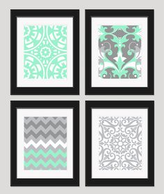 Mint Green Grey White Art, Wall Art, Bedroom Art, Chevron Art, Set of 4 - 8x10 Prints, Damask Art, Pastel Wall Art, Light Green Wall Decor