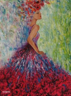 Canvas PrintingBeautiful & Colorful Abstract women by YoseffaArt