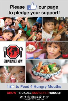 WORLDFOODS wants to donate $5,000 to Stop Hunger Now this holiday season. To support our charity campaign, please visit the WORLDFOODS Facebook page and like the page. We'll donate $1 for every new like we receive! Please re-pin to share this fantastic cause and help us reach our aim of 5,000 new likes by the end of 2013.