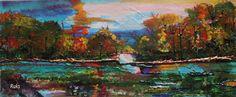 Splashes of color, Original Painting by Rukshana Hooda +Mount & Frame