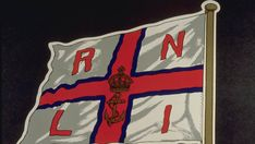 The first RNLI flag by Leonora Preston in 1884, bearing the Tudor crown worn by King George VI
