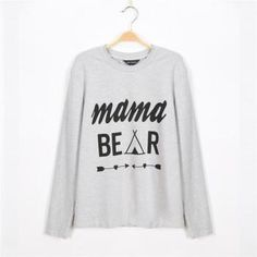 Baby Bear/Mama Bear Print Mom and Me Long-sleeve T-shirt