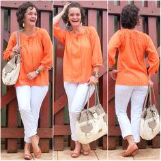 blog v@ LOOKS | por leila diniz: look 1 ontem: burgundy e crucifixo | look 2 hoje: laranja e branco | msg: caminhemos na graça de DEUS