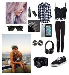 """""""Date in the beach with Harry"""" by joanaoliveira-ii ❤ liked on Polyvore featuring Lipsy, J Brand, Vans, Beats by Dr. Dre and Ray-Ban"""