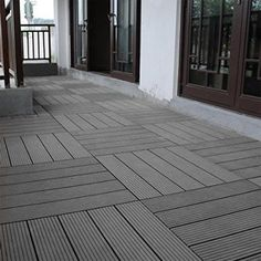 Abba Patio 12 x 12 Inch Outdoor Four Slat Wood-Plastic Composite Interlocking Decking Tile, 6 Pieces One Pack, Dark Grey (Dark Grey) Patio Tiles, Best Flooring, Outdoor Flooring, Ikea Deck Tiles, Flooring Tiles, Pebble Patio, Wood Deck Tiles, Outdoor Decking, Wpc Decking