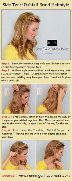 Side Twist Fishtail Braid Hairstyle | PinTutorials