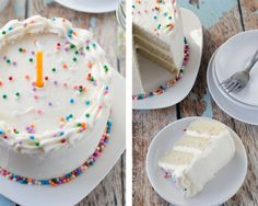 This cake is gorgeous, AND I think it's the only vegan white cake I've ever seen. I always see vanilla yellow cake, but not a pearly white! It's more dense than a traditional white cake, but fluffy white cake made from scratch is a beast to get right. This is an easy recipe that is said to be very moist and flavorful!
