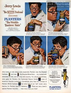 "Jerry Lewis as ""The Nutty Professor"" for Planters nuts (1963)"