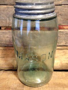 """Antique Aqua """"Mason"""" Jar, Block Logo No Arch No """"s"""" VERY RARE Quart #Mason"""