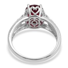 Niassa Ruby (Ovl 5.00 Ct), White Topaz Ring in Sterling Silver (Size 6) TGW 5.500 cts. | Fashion | Rings | Jewelry | Online Store | Liquidation Channel Site