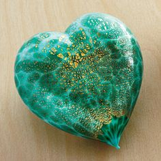 Murano Glass Heart - sky blue/green--You'll fall in love with our Murano glass heart. This heart is skillfully mouth blown in Murano, Italy, and preciously finished with real 24 karat gold.