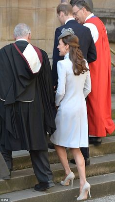 Elegant in a dove grey coat dress, Kate attends church with William on a sunny Easter Sunday in Sydney | Mail Online