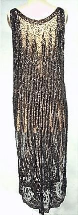 c. early 1920's (likely French) Deco Black Beaded and Sequin Tabard Overdress.