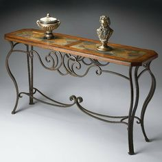 Shop for the Butler Specialty Company Metalworks Console Table at BigFurnitureWebsite - Your Furniture & Mattress Store Iron Console Table, Entryway Console Table, Small Space Interior Design, Interior Design Living Room, Iron Furniture, Accent Furniture, Wrought Iron Decor, Wood Stone, Rustic Table