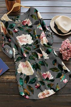 Floral Long Sleeve Linen Blouse Dress - Floral One Size Linen Blouse, Blouse Dress, Plaid Dress, Linen Shirts, Dress Outfits, Casual Dresses, Women's Dresses, Ladies Dresses, Floral Dresses