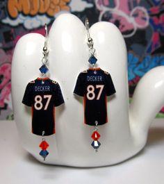 Denver Broncos WR Eric Decker Jersey Dangle Earrings