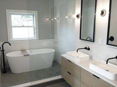 Double Vanity Bathroom Mirrors: Ideas and Inspiration | Hunker Bathroom Styling, Double Vanity Bathroom, Double Mirror Vanity, Large Mirror, Vanity, Floating Vanity, Vessel Sinks, Bathroom Farmhouse Style, Bathroom