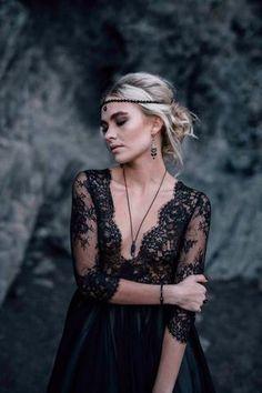 Sexy Deep V-neck Satin & Lace Black & White  Wedding Dress