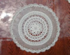 Lace crochet doily 15 inches Beige doily by CrochetedCosiness