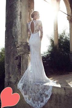 Dresses, Long Sleeve Keyhole Back Chaple Trains Dresses: Sophisticated Wedding Dresses 2013 by Riki Dalal