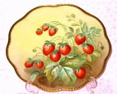 LIMOGES FRANCE HAND PAINTED STRAWBERRY PLATE - FAB! in Limoges | eBay