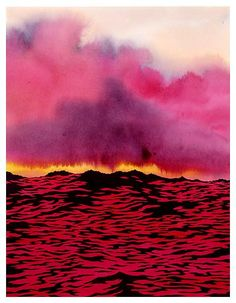 "redlipstickresurrected: "" Ken Price (American, 1935-2012, b. LA, CA, USA) - Red Water, 2004 Drawings: Ink, Acrylics on Paper """