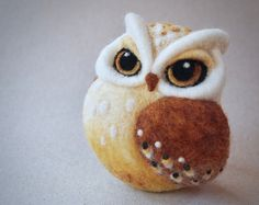 needle felted OWL by The Lady Moth - brown owl - horned owl - fibre art - owl sculpture - needle felted bird - UK Needle Felted Owl, Felt Birds, Felt Owls, Needle Felting Tutorials, Horned Owl, Owl Art, Felt Hearts, Wet Felting, Felt Animals