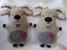 Recycled Sweater Goat plush critter stuffed by TheHappyGroundhog, $37.00