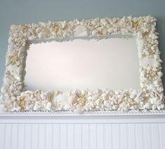 Decorating Mirrors with Seashells | Beach Decor White Seashell Mirror Nautical by beachgrasscottage, $500 ...