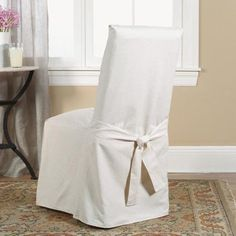 Living room chair covers Wooden Chair Found It At Wayfair Cotton Duck Full Length Dining Room Chair Slipcover Mainevent 36 Best Slip Covers For Chairssofasottomansloveseats Images