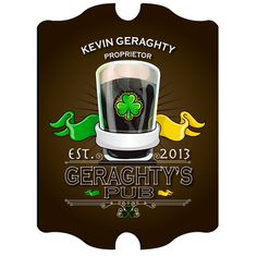 """Vintage Personalized Irish Pub Signs #StPatricksDay Your Irish friends will be """"open for business"""" with this personalized Irish Pub Sign. Each design is printed directly onto the composite base for lasting quality. Measures 10¾"""" x 15½"""" x ¼"""". Personalized with first name, last name and year established."""