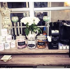 Awesome coffee bar by Tiffani's Mirror Salon!