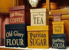 Kitchen canister primitive shaker boxes 7 piece set