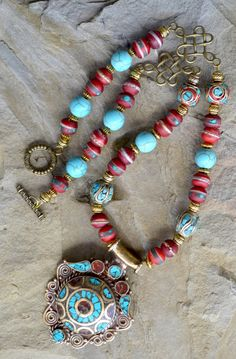 Nepal Beads Necklace Turquoise Brass Antique Bronze by LKArtChic