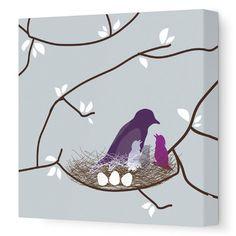 "Avalisa Imaginations Bird Nest Stretched Canvas Art Size: 28"" x 28"", Color: Blue"