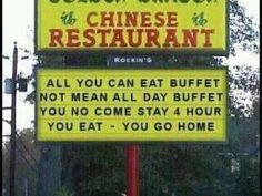 Funny pictures about Chinese Buffet. Oh, and cool pics about Chinese Buffet. Also, Chinese Buffet photos. Restaurant Signs, Chinese Restaurant, I Love To Laugh, Make You Smile, Funny Chinese, Chinese Food, Chinese Man, Speak Chinese, Chinese Chicken