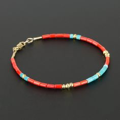 Genuine Red Coral and Blue Turquoise Heishi Bracelet with 14K