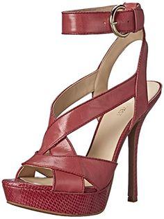 Nine West Women's Untold Leather Dress Sandal, Pink Orange/Pink Orange, 8 M US