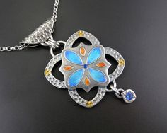 Majorellica Fine Silver pmc, Sterling Silver and Enamel pendant handmade by JoyFunnellEtsy on Etsy.