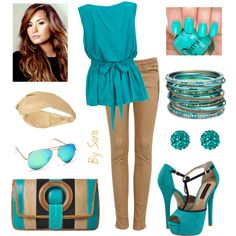 """Turquoise & Sand"" by queenofcaracas on Polyvore"