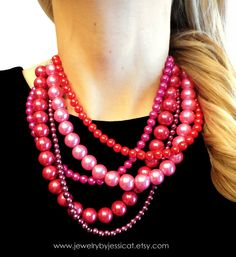 Delightful, colorful, and totally one-of-a-kind handmade statement necklace made with vibrant glass pearls.. Adorbs!    CLASSIC Statement Necklace Red Burgundy Pink by JewelryByJessicaT,