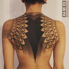 Beautiful backpiece by @neotattoos -- #geometrictattoo #dotwork #blackwork…