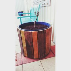 Recycled, reclaimed, pallet timber and 44 gallon drum = this gorgeous one of a kind pot for my dwarf peach to live, made by my clever husband